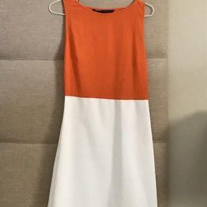 Zara orange and white mini dress